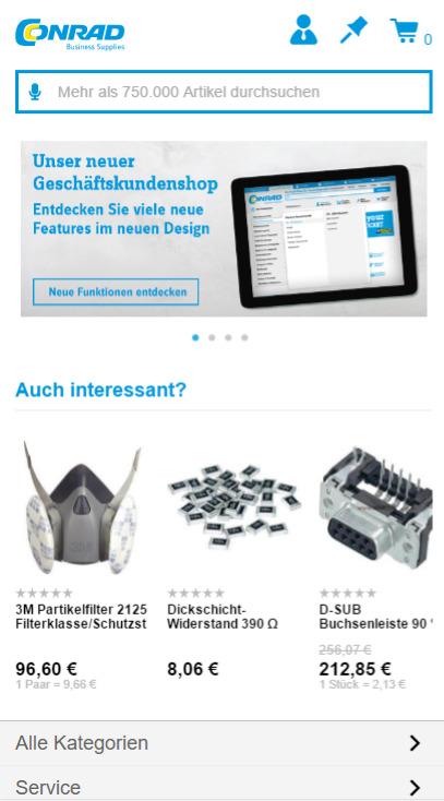 Einkauf per Smartphone: Auch auf der Baustelle ist Conrads B2B-Shop nutzbar