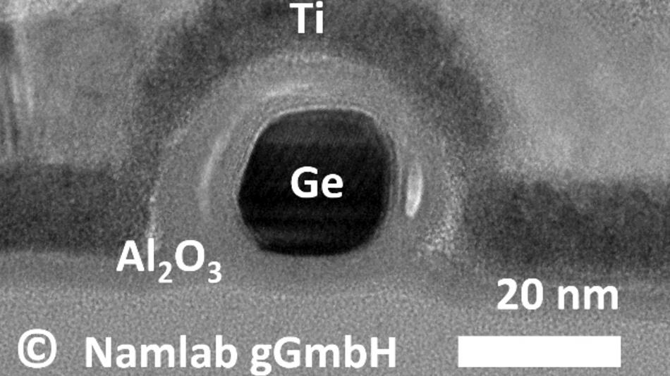 Transmissionselektronenmikroskop-Aufnahme eines Germanium-Nanodraht-Transistor, der durch ein elektrisches Signal in einen p- oder einen n-leitenden Zustand gebracht werden kann.