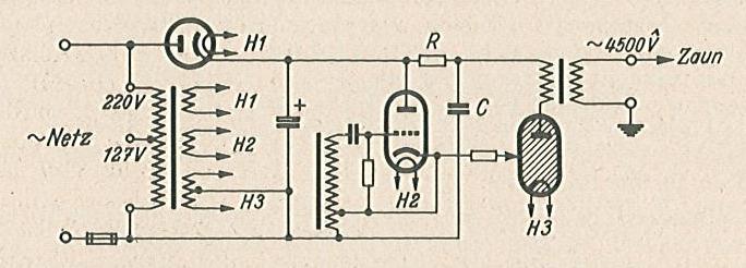 Bild 2. Prinzipschaltung des Philips-Weidezaungerätes