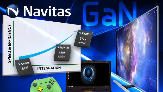 Auf den »iDrive«-Bausteinen von Navitas Semiconductor sind neben dem GaN-HEMT auch die Treiber- und Schutzbeschaltung monolithisch integriert.