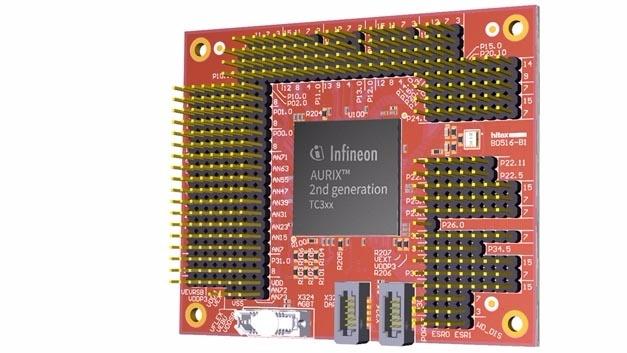 Der Debug-Adapter wird anstelle des Aurix-Mikrocontrollers mit der Leiterplatte verbunden.