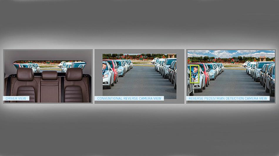 Bild 1. Vergleich zwischen herkömmlicher Kamera und Reverse-Pedestrian-Detection-System.