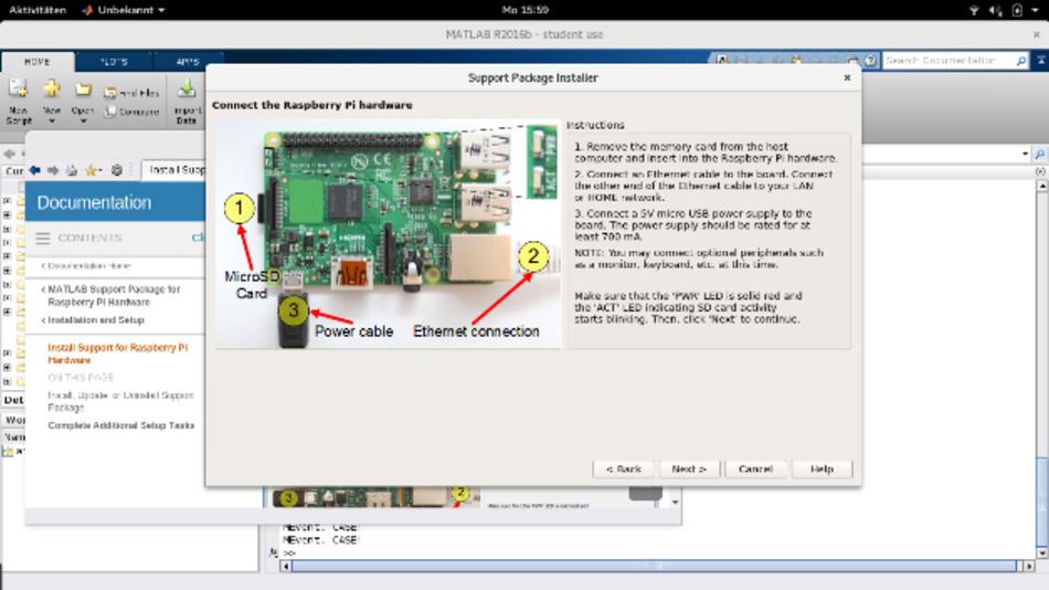 Der Setup-Assistent integriert den Raspberry Pi reibungslos in die Matlab-Umgebung.