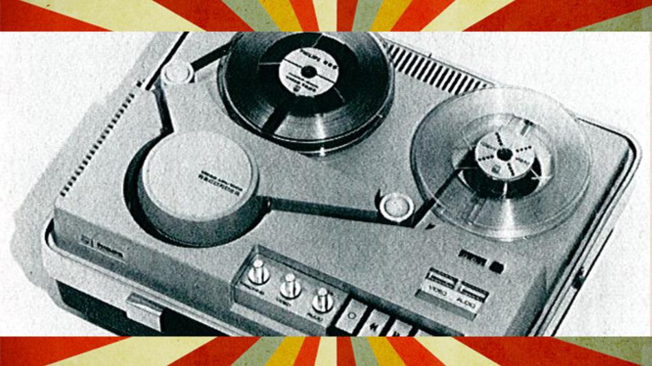 Videorecorder Modell LDL-1000 zur Aufzeichnung und Wiedergabe von Bild und Ton über den Fernsehapparat bzw. über Kamera und Mikrofon (Philips)