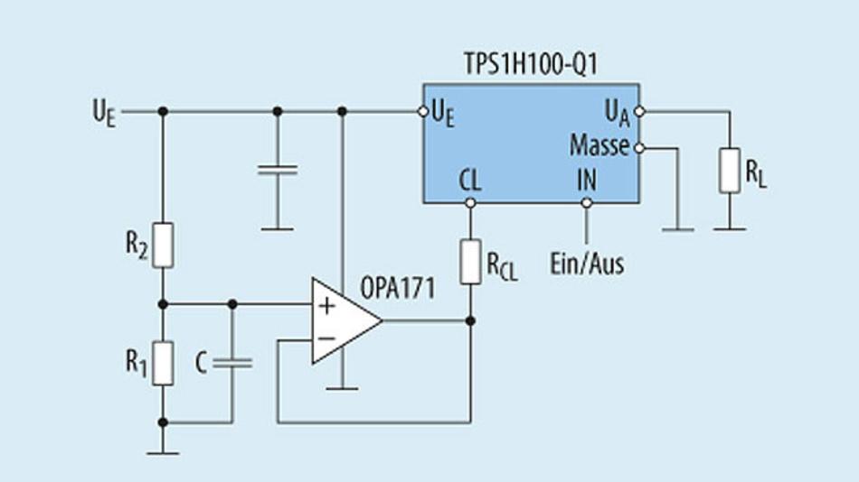 Bild 1. Mit der durch die Eingangsspannung UE modulierten Strombegrenzung ermöglicht der Lastschalter TPS1H100-Q1 eine Begrenzung auf konstante Leistung.