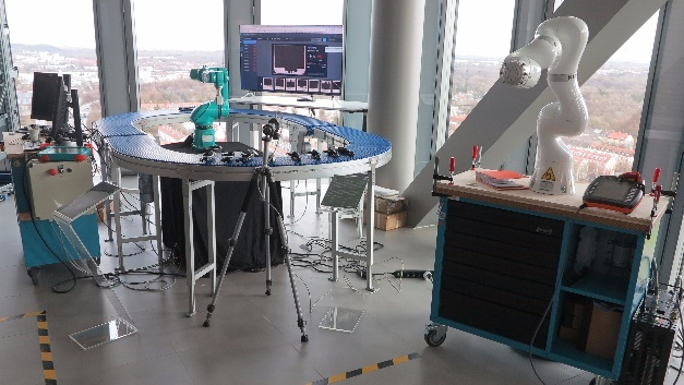 Industrie-Roboter-Laborplatz im IBM Watson IoT Center.
