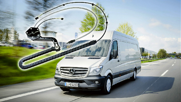 Transportfahrzeuge sind oft mit Schiebetüren ausgestattet, in denen Energieführungsketten zum Einsatz kommen