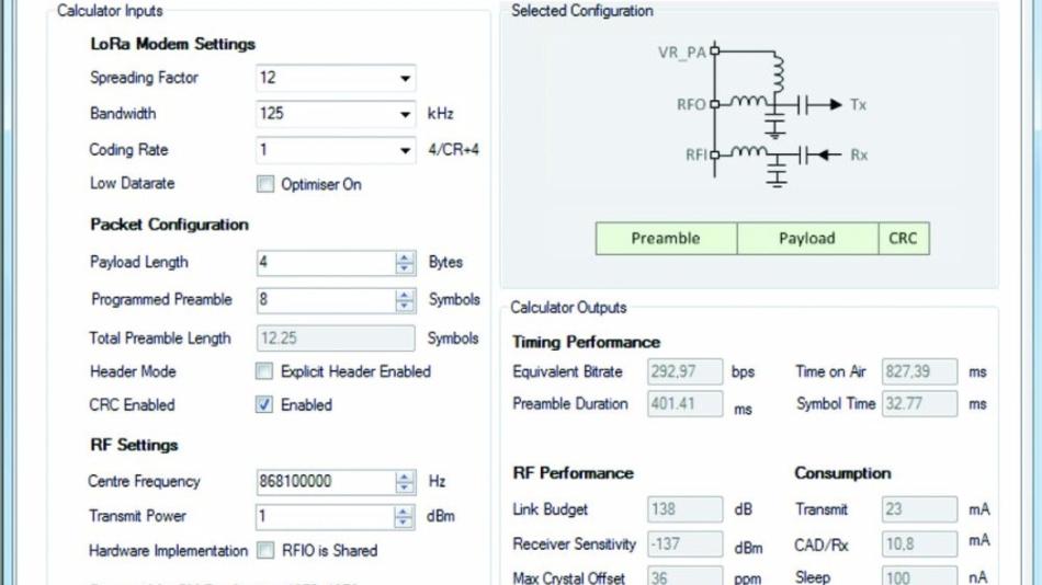 Bild 5: Der »LoRa Modem Calculator« ermittelt aus selektierbaren Parametern die wichtigen Betriebsdaten.