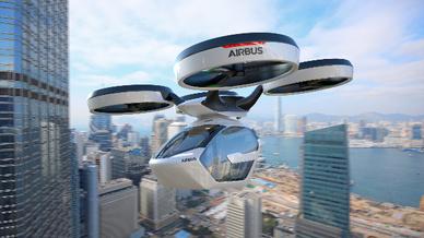 Das Flugtaxi der Airbus Group in der Luft.