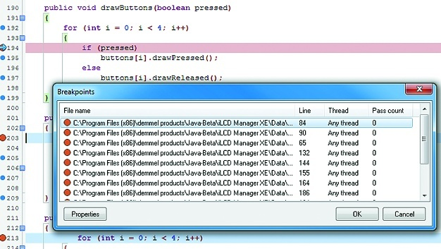 Breakpoints im iLCD Manager XE