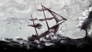 Gemälde stürmische See Schiff