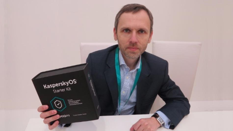Andrey Nikishin, Special Projects Director, Future Technologies bei Kaspersky Lab,  präsentiert das KasperskyOS StarterKit.