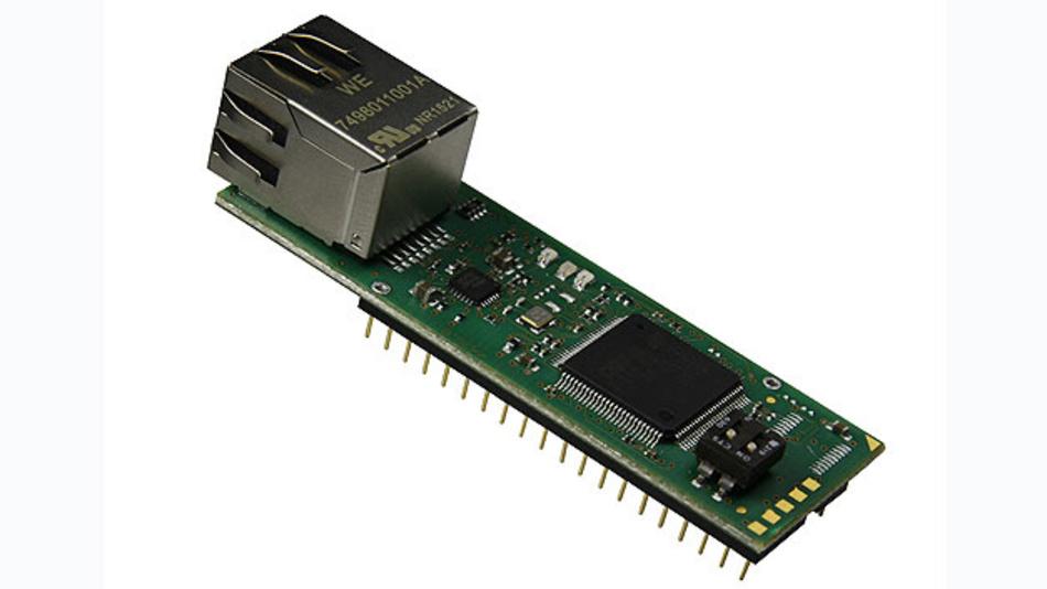 DIP40-Version des IoT-Chips von Sys Tec: Der Chip arbeitet als MQTT Publisher oder Subscriber und verarbeitet Daten von Sensoren oder Aktoren.