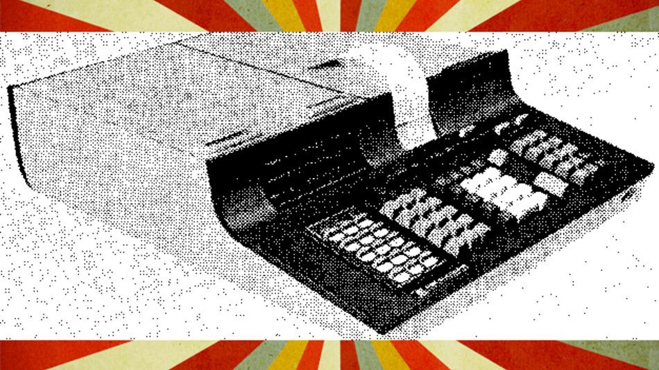 Optional war der Tischrechner aus dem Jahr 1971 mit eingebautem Drucker erhältlich. Auch der Anschluss peripherer Geräte war möglich.