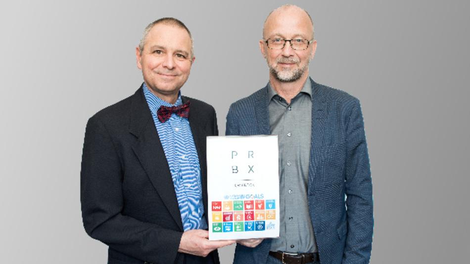 Sie wollen Powerbox noch nachhaltiger machen: Patrick Le Fèvre (links), CMCO und Vertreter für Nachhaltigkeit und Martin Sjöstrand, Powerbox CEO.