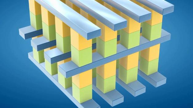 Der schematische Aufbau der 3D-XPoint-Speicher: Zwischen den Wort- und Bitleitungen befindet sich eine Säule aus den neu entwickelten Materialien, die einmal den Schalter und zum anderen das eigentliche Speicherelement bilden.  Ein Auswahltransistor ist nicht erforderlich. Auf jede Speicherzelle kann individuell zugegriffen werden, blockweises Löschen wie bei anderen nichtflüchtigen Speichern entfällt.