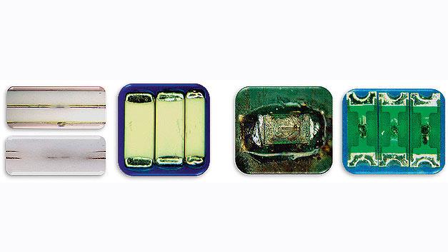 Bild 2. Die monolithische Struktur der Keramiksicherungen (links) absorbiert den Fehlerstrom im Vergleich zu herkömmlichen Chip-Sicherungen (rechts) ohne äußerliche Beschädigungen.