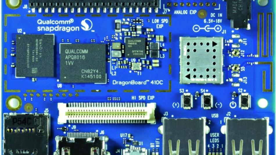 Das Dragonboard 410C mit Qualcomms Snapdragon-410-SoC.
