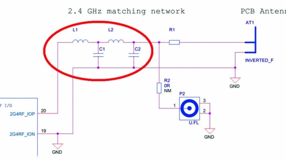 Bild 1: Tx-Anpassungsnetzwerk mit vier Elementen für den Einsatz bei 2,4 GHz.