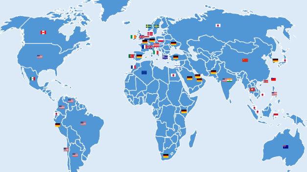"""Die Weltkarte der """"Made in"""" Champions: Die Flaggen zeigen die Made in Siegel, die im jeweiligen Land von den Verbrauchern im Gesamtranking am besten bewertet werden."""