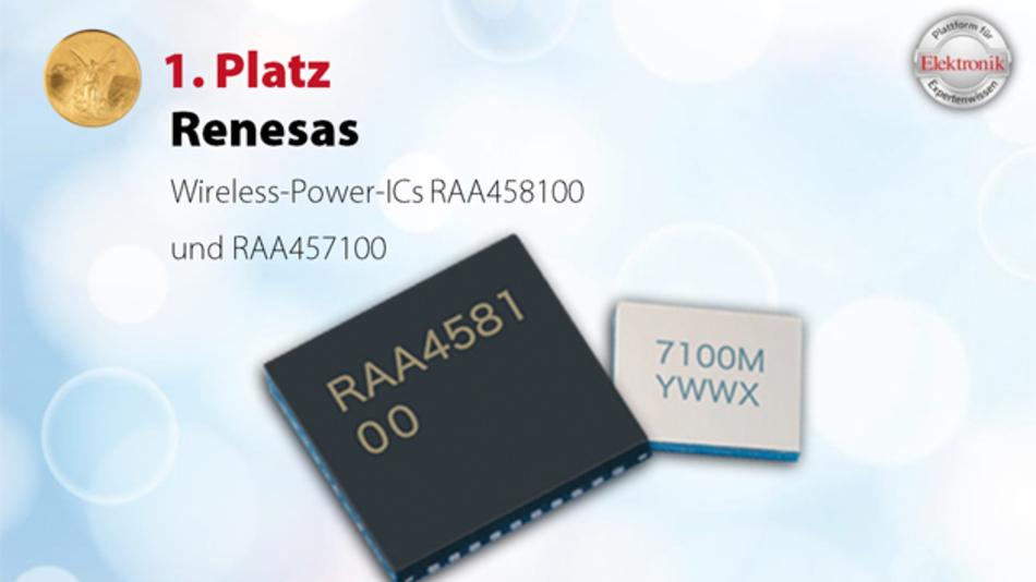Kontaktlose Energieübertragung: Wireless-Power-ICs zum Akkuladen Speziell zum Laden kleiner Geräte, die wasser- und staubdicht ausgeführt werden müssen, wie z.B. Hörgeräte und Fitnessuhren, hat Renesas Electronics einen Sender-IC (RAA458100) und einen besonders kleinen Empfänger-IC (RAA457100) im 3,22 × 2,77 mm2 großen WLBGA-Gehäuse entwickelt. Das Empfänger-IC enthält eine Synchrongleichrichterschaltung, einen Laderegler zum Laden einer Lithium-Ionen-Zelle – wahlweise mit 4,05 V, 4,2 V oder 4,35 V – mit max. 70 mA und einen DC/DC-Wandler zur Versorgung des jeweiligen Gerätes mit 1,2 V, 1,5 V, 1,8 V oder 3 V. Die Zellenspannung und der Ladestrom werden über einen 12-bit-ADU überwacht und die Daten während des Ladevorganges an das Sender-IC übertragen. Das neue Sender-IC für 5-V-Betriebsspannung treibt eine MOSFET-Brückenschaltung (Halb- oder Vollbrücke) mit 125 kHz.