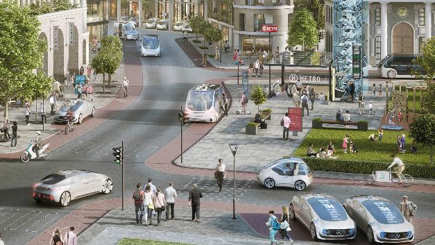 So stellen sich Daimler und Bosch die Mobilität der Zukunft vor: Per Smartphone kann in einem festgelegten Stadtgebiet bequem ein Car-Sharing-Auto oder ein Robotertaxi geordert werden.