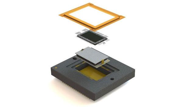 Den KAE-02152 Bildsensor mit erhöhter Quantenausbeute im nahen Infrarot ist optional auch mit integriertem Peltier-Element im Keramikgehäuse erhältlich.