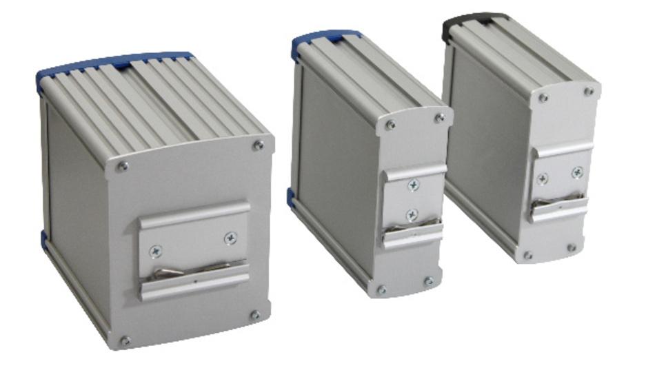 In den Standardbreiten 30, 40, 50, 60, 80 und 100 mm gibt es Wöhrs Din-Ra-Gehäuse-Serien DinRa-ALU-COMPACT und DinRa-ALU-ECOPAC.