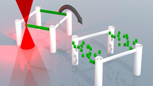 Mit dem Verfahren vom KIT lassen sich lasergeschriebene dreidimensionale Mikrostrukturen lassen sich schreiben, auflösen und neu schreiben.