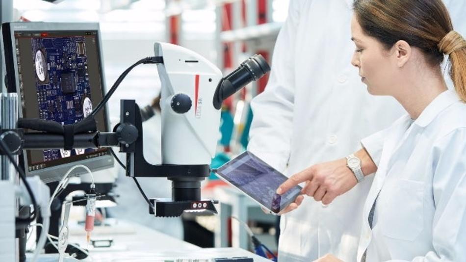 Bis zu 20 Prozent schnellere Arbeitsabläufe versprechen die Greenough-Stereomikroskope der S9-Serie von Leica (Halle 5, Stand 212). Dank Vergrößerungen von 6.1x bis 55x und dem 9:1-Zoom können Anwender einfach von der Übersicht in kleinste Details wechseln. Darüber hinaus sind die Geräte mit der proprietären FusionOptics-Technologie ausgestattet, dadurch sind alle Probendetails innerhalb einer Höhe von bis zu 12 mm scharf fokussiert und hochaufgelöst zu sehen. Extraschritte im Arbeitsablauf wie ständiges Nachfokussieren verringern sich merklich, weil Anwender bereits auf den ersten Blick mehr sehen. Durch einen großen Arbeitsabstand von 122 mm ermöglichen die S9-Stereomikroskope das einfache Arbeiten unter dem Mikroskop. Anwender können leicht auf die Probe zugreifen und diese mit Standard-Werkzeugen inspizieren oder bearbeiten.