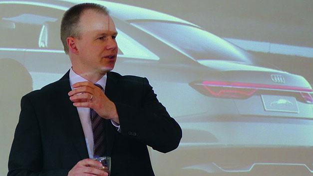 Berthold Hellenthal von Audi wurde eingeladen, um einen Vortrag auf der AmE 2017 zu halten. Das Vortragsthema des Vorstandsmitglieds der GMM: «Anforderungen an zukünftige Elektronik für Fahrerassistenzsysteme».