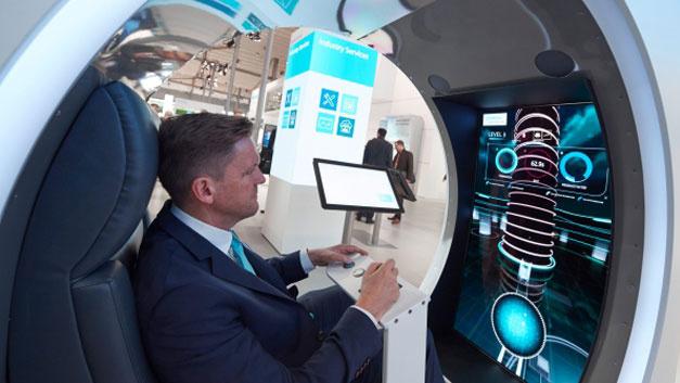 Siemens präsentierte sich unter dem Motto: Den Mehrwert eines digitalen Unternehmens entdecken.