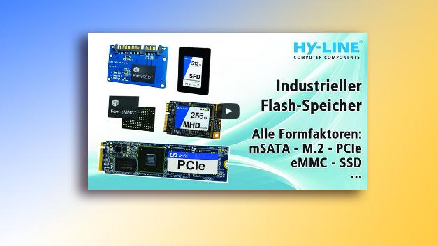 Hy-Line zeigt in einem Video die Vorteile industrielle Flash-Speicher wie mSATA, M.2, PCIe, eMMC und SSD.