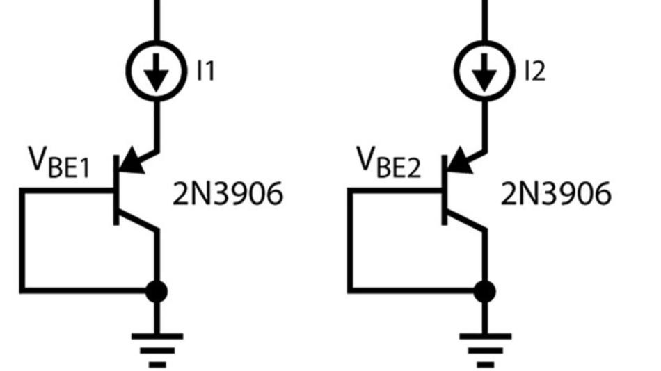 Bild 10: Temperaturmessung mit Hilfe des ∆UBE von Bipolartransistoren (BJT).