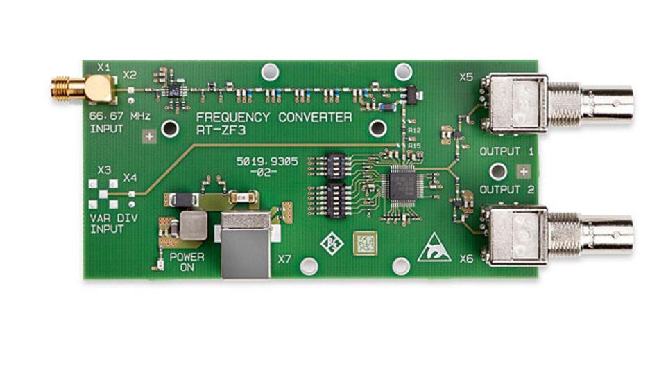 Bild 1. Der Frequenzumsetzer R&S RT-ZF3 macht die Taktsynchronität zwischen DUT und Messaufbau möglich.