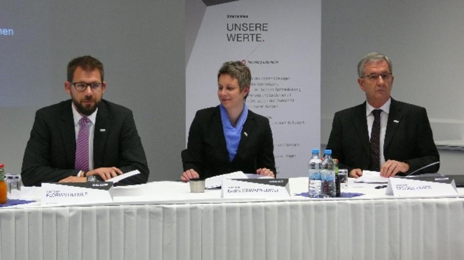 Die Geschäftsführung von Balluff: Florian Hermle (links), Katrin Stegmaier-Hermle und Michael Unger.