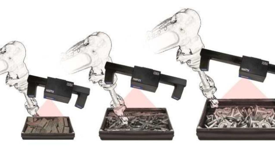 """Die 3D-Sensoren der Serie """"IntelliPICK"""" von Isra Vision können unsortierte Bauteile in verschiedensten Objektmaßen sicher aus Behältern greifen."""
