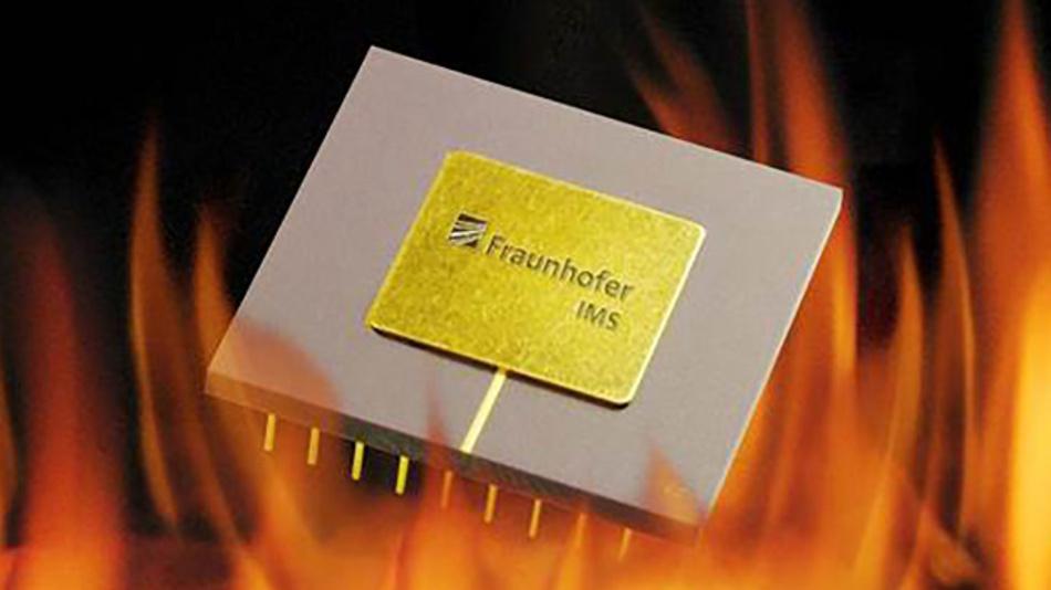 Der Kondensator des Fraunhofer IMS widersteht Temperaturen von bis zu 300 Grad Celsius.