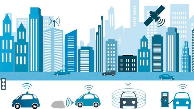 Vernetzte Kommunikation zwischen Fahrzeugen und Infrastruktur.