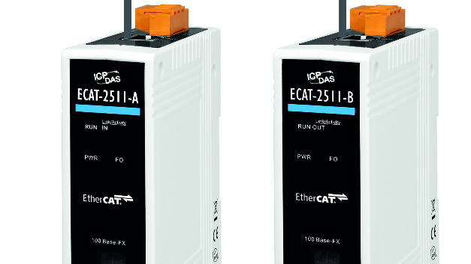 Mit Hilfe der ECAT-2511-Medienkonverter von ICPDAS lassen sich EtherCAT-Daten via LWL übertragen.