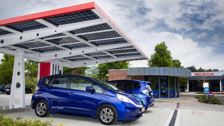 Honda wird neben dem Photovoltaik-Carport eine Wasserstofftankstelle installieren.