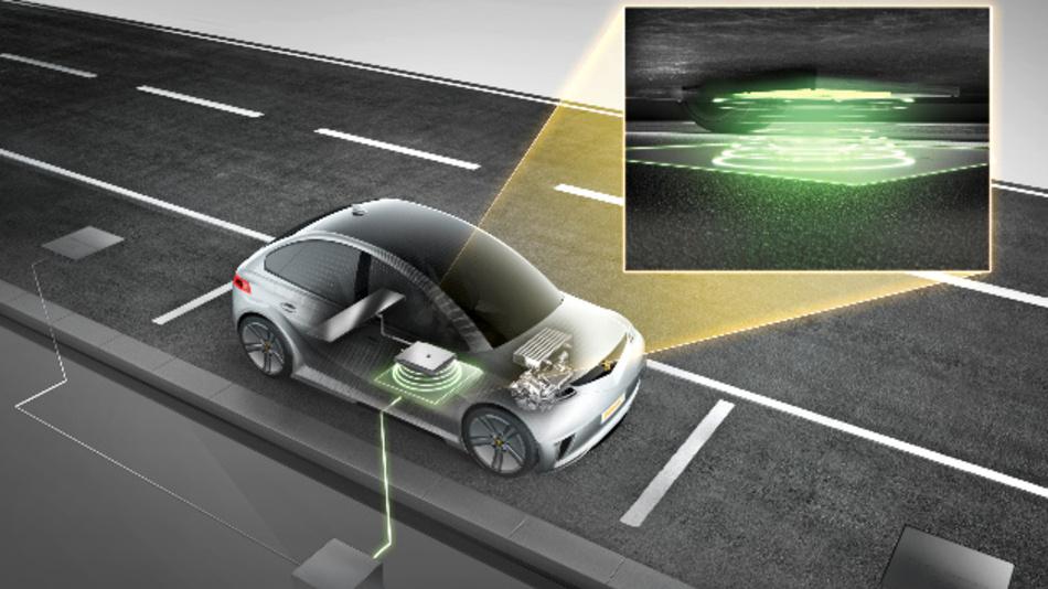 Das Fahrzeug wird über der Bodenplatte abgestellt und der Ladevorgang beginnt automatisch.