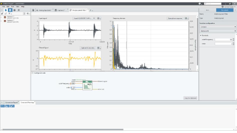 Nachdem der Filter interaktiv erstellt wurde kann der LabVIEW-Code zur Weiterverwendung generiert werden.