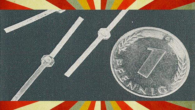 Ein Größenvergleich der Si-Dioden aus dem Jahr 1969 mit einem Pfennig-Stück.
