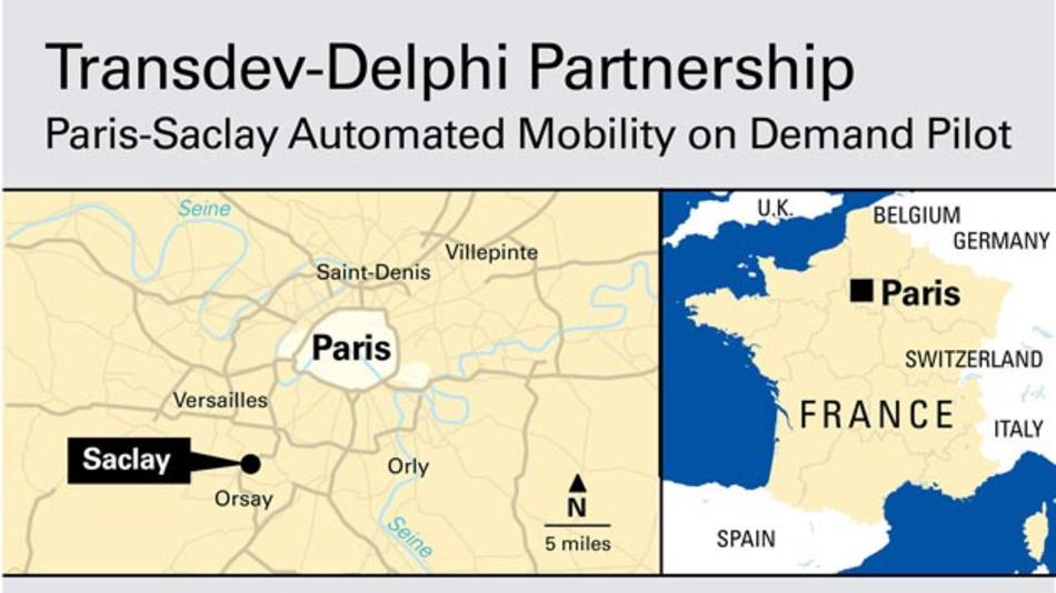 In Paris-Saclay arbeiten Transdev und Delphi bei der Entwicklung einer On-Demand-Lösung für die erste und letzte Meile zwischen einer konventionellen Bahnstation und dem Paris-Saclay Plateau und Campus zusammen.
