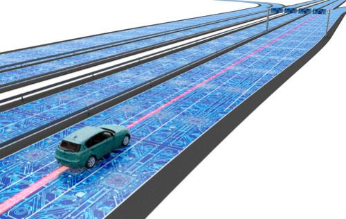 Autonomes Fahrzeug auf einer digitalen Straße.