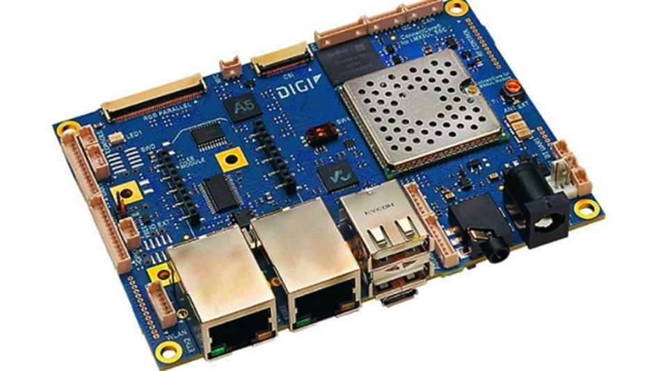 """Der Single-Board-Computer """"ConnectCore 6UL SBC Pro"""" enthält als Herzstück einen Prozessor aus der NXP-i.MX6UL-Familie"""