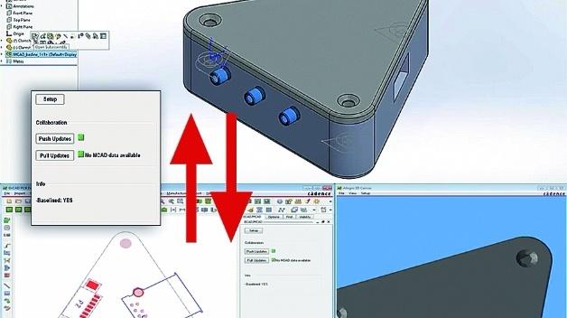 Designoberflächen von SolidWorks (oben) und OrCAD (unten), inkl. 3D-Ansicht