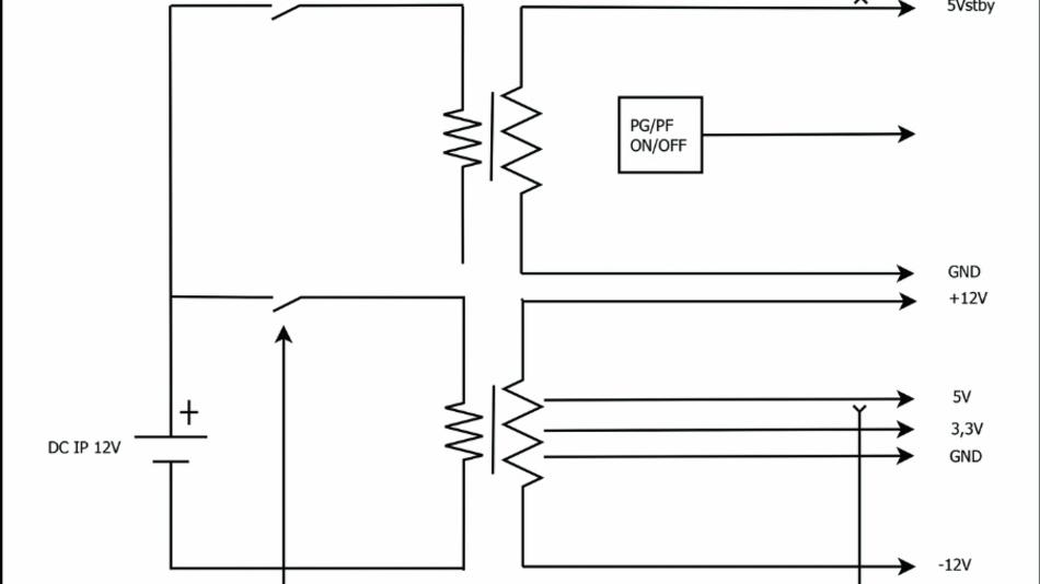 Bild 1: Aufbau eines galvanisch getrennten DC/DC-Wandlers mit ATX-Ausgängen.