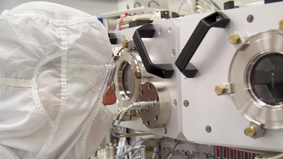 Detailaufnahme einer EUV-Lithografiemaschine von ASML